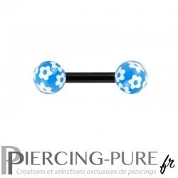 Piercing Téton Acier noir et billes fleurs - bleu