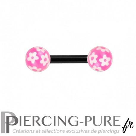 Piercing Téton Acier noir et billes fleurs - rose