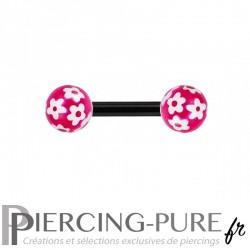 Piercing Téton Acier noir et billes fleurs - fushia