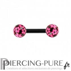 Piercing Téton Acier noir et billes fleurs roses