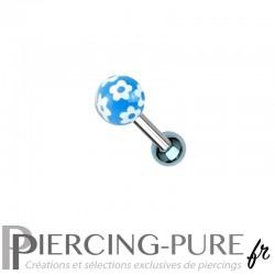 Piercing Oreille Acier et bille fleurs - bleu