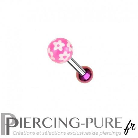 Piercing Oreille Acier et bille fleurs - rose