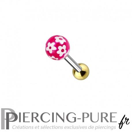 Piercing Oreille Acier et bille fleurs - fushia