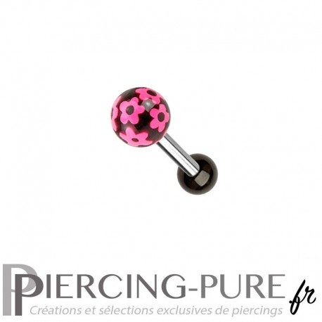 Piercing Oreille Acier et bille fleurs roses