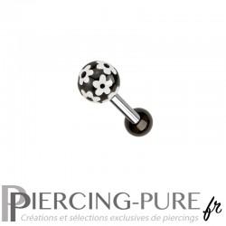 Piercing Oreille Acier et bille fleurs - noir