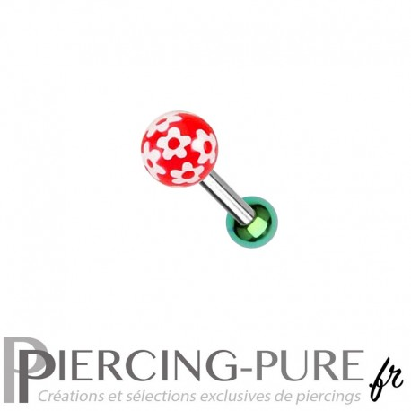 Piercing Oreille Acier et bille fleurs - rouge