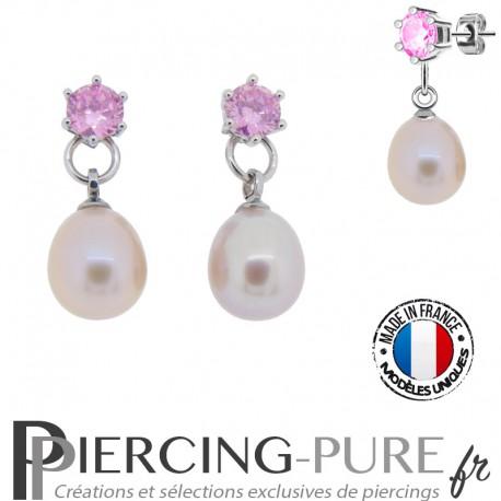 Boucles d'Oreilles Perles roses naturelles cristaux roses - La paire