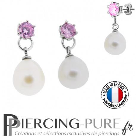 Boucles d'Oreilles Perles blanches naturelles cristaux roses - La paire