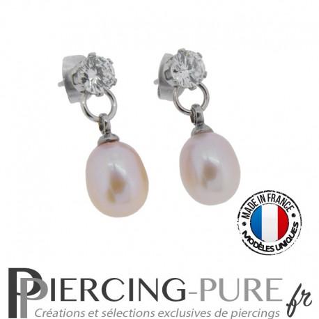 Boucles d'Oreilles Perles roses naturelles cristaux blancs - La paire