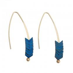 Paire de boucles d'oreilles Ethnique Flèches bleues