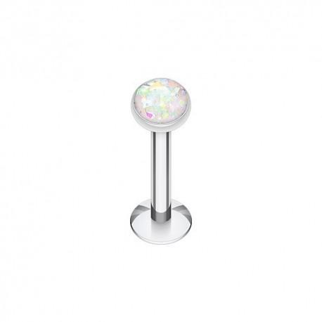 Piercing Labret Acier et Opale blanc irisé