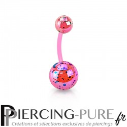 Piercing Nombril Flexible splash rose