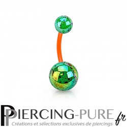Piercing Nombril Flexible splash vert et orange