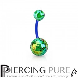 Piercing Nombril Flexible splash vert et bleu