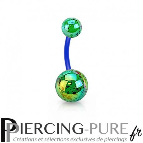 Piercing Nombril Flexible splash vert et bleu