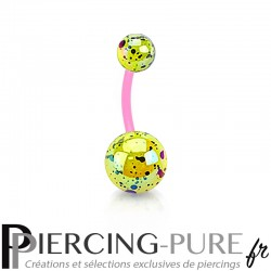 Piercing Nombril Flexible splash jaune et rose