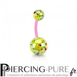 Piercing Nombril Flexible splash jaune et rose
