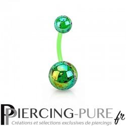 Piercing Nombril Flexible splash vert