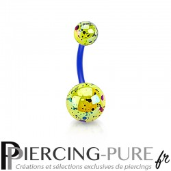 Piercing Nombril Flexible splash jaune et bleu