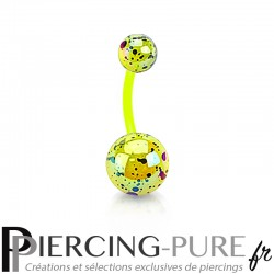 Piercing Nombril Flexible splash jaune