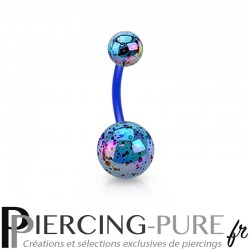 Piercing Nombril Flexible splash bleu