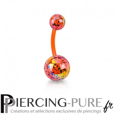 Piercing Nombril Flexible splash orange