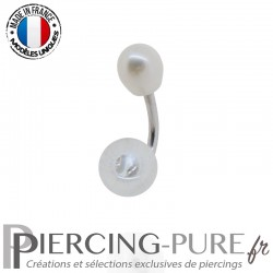 Piercing Nombril Or blanc 18K bille de Cristal et Perle d'eau douce