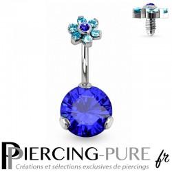 Piercing Nombril Fleur et Cristaux bleus griffés