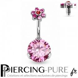 Piercing Nombril Fleur et Cristaux roses griffés