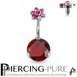 Piercing Nombril Fleur et Cristaux rouges griffés
