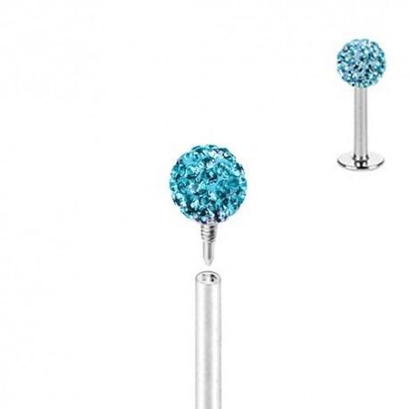 Piercing Labret Multicristaux turquoises