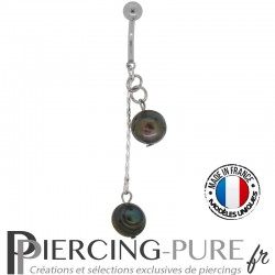 Piercing Nombril cerise Perles de culture