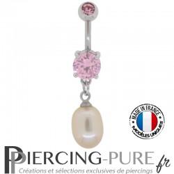 Piercing Nombril Acier Pierres roses et Perle d'eau douce rose