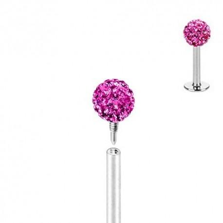 Piercing Labret Multicristaux roses