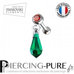 Piercing Oreille Tragus Cristal rouge et Swarovski Elements goutte émeraude