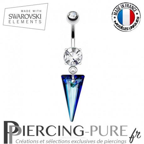 Piercing Nombril spike Swarovski Elements Crystal Bermuda Blue