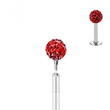 Piercing Labret Multicristaux rouges