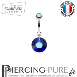 Piercing Nombril Soleil Swarovski Elements Crystal Bermuda blue