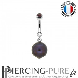 Piercing Nombril Perle de culture Prussian blue et Cristal parme