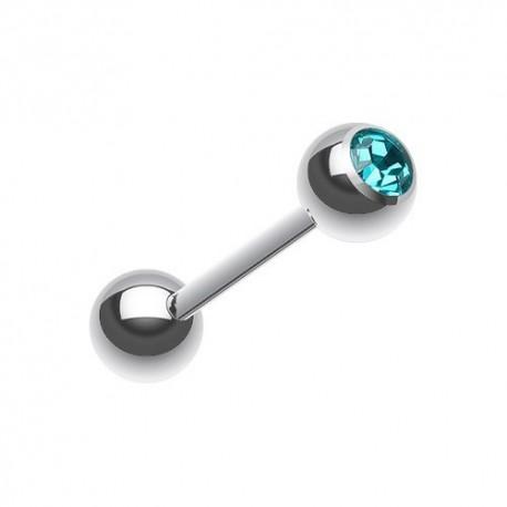 Piercing Langue Acier Cristal turquoise