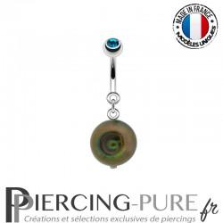 Piercing Nombril Perle de culture Prussian blue et Cristal vert émeraude