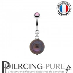 Piercing Nombril Perle de culture Prussian blue et Cristal rose