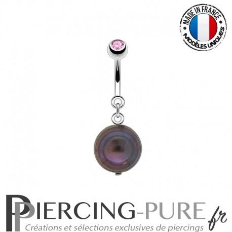 Piercing Nombril Perle de culture Prussian blue et Cristal rose