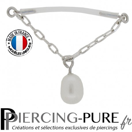 Piercing Téton Flexible chainette fine et Perle de culture