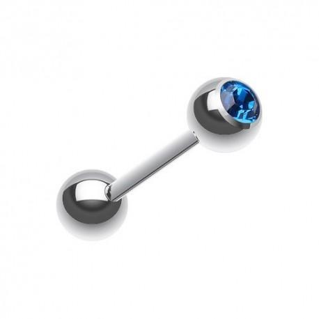 Piercing Langue Acier Cristal bleu foncé