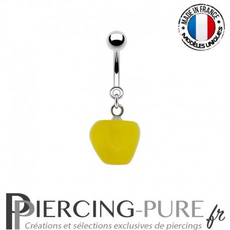 Piercing Acier pendentif pomme jaune
