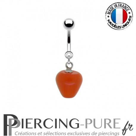 Piercing Acier pendentif pomme rouge