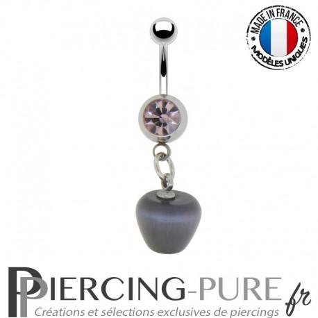 Piercing Nombril vintage pomme grise et pierre rose