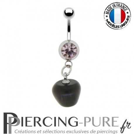 Piercing Nombril vintage pomme noire et pierre rose