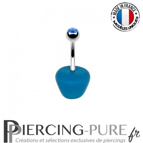 Piercing Acier pomme bleue et Pierre bleue